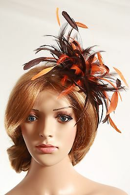 Brown & Orange Fascinator hat/choose any colour satin/ feathers
