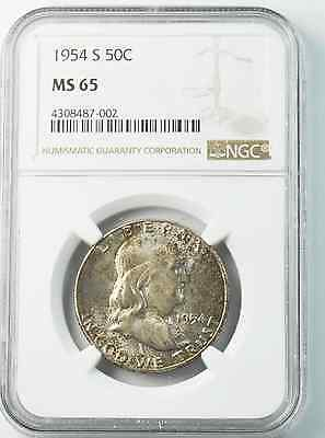 1954 S 50c Franklin Silver Half Dollar NGC MS65 Beautifully Toned