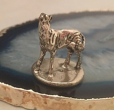 WOW Solid Sterling Silver 800 Miniature ZEBRA AFRICA SAFARI Antique ITALY - L116