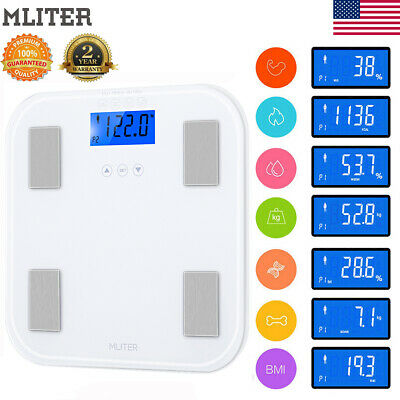 400lbs/180kg Digital LCD Body Scale Electronic Fat Weight Muscle BMI Water Scale