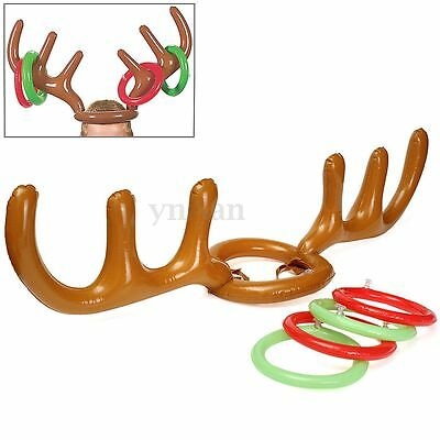 Christmas Party Gift Inflatable Reindeer Toy Antler Hat Ring Toss Game Supplies