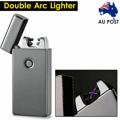 Windproof Lighter USB Rechargeable Electric Double Arc Flameless Plasma Torch AU