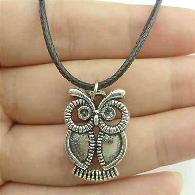 """89491 17/"""" Leather Chain Alloy Silver Filigree Celtic Knot Pendant Necklace"""