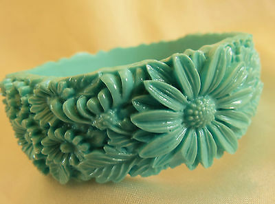 Vintage molded floral celluoid bangle rare seafoam green color