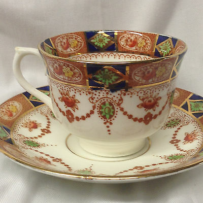 Colclough England 3775 Footed Cup & Saucer 7 Oz Rust Blue & Green Flowers Swags