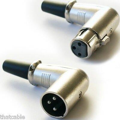 XLR 3 PIN Male & Female Solder Connectors -Right Angled 90 Degree For MIC Cables