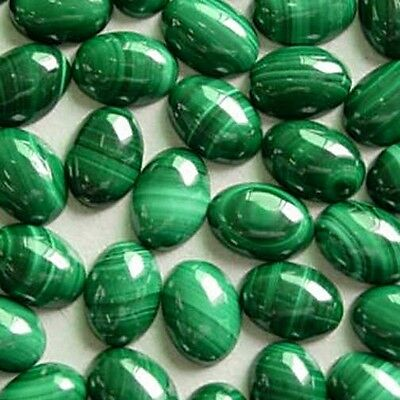 5 PIECES OF 7x5mm OVAL CABOCHON-CUT NATURAL AFRICAN MALACHITE GEMSTONES