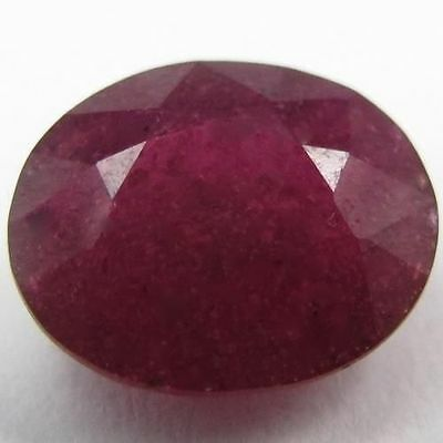 RARE 7x5mm OVAL-FACET DEEP RED/PURPLE NATURAL INDIAN RUBY GEMSTONE (APP £96)