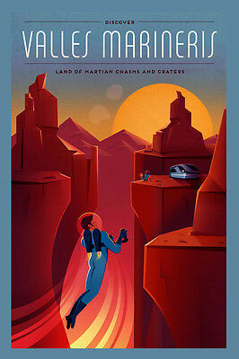 Astronaut Work Mars Moon NASA Spaceship Sci-Fi US Vintage Poster Repro FREE S//H