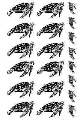 "Sea Turtles  5"" X 3"" Card Black Fused Glass Decals 16CC695"
