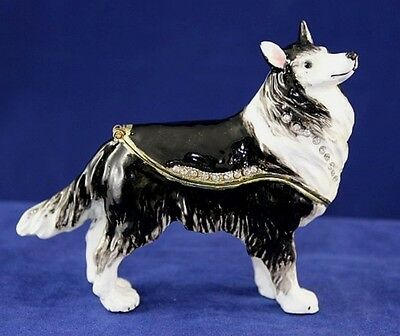 Enameled Pewter Bejeweled Black & White Collie Trinket Box with Treasure Inside