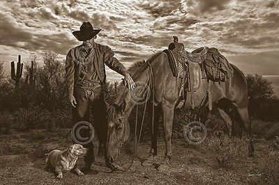 WESTERN ART PRINT End of the Trail by Barry Hart Cowboy Cross Horse Poster 11x14