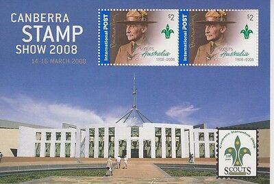 2008 Australia, Scouting MS SG 2919, Canberra Stampshow celebrating Scouts