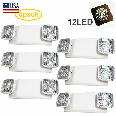 6PACK 12 LED Ultra Bright Emergency Exit Light - Standard Square Head UL924