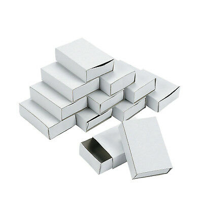 Set 50 Plain White Empty Matchboxes With Drawer For Craft Favours Trinkets 7080