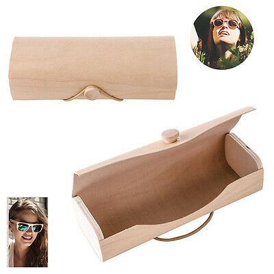 Portable Wooden Sunglasses Box Case Eye Glasses Clam Shell Protector