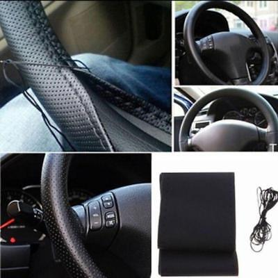 Car Truck Leather Steering Wheel Cover With Needles and Thread Set Black DIY LD