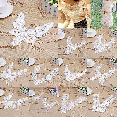 Lace Embroidered Floral Neckline Neck Collar Trim Clothes Sewing Applique