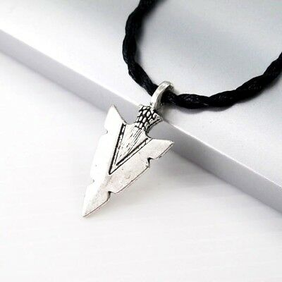 Silver Alloy Native American Arrowheads Pendant Black Tribal Choker Necklace NEW