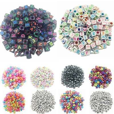 100Pcs New Mixed Alphabet/Letter Round Acrylic Spacer Loose Beads Jewelry Making
