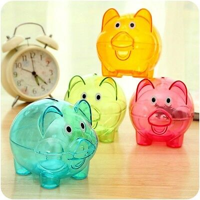 Clear PIGGY Bank Coin Money Plastic Pig Still Savings Toy Cash Safe Box S2