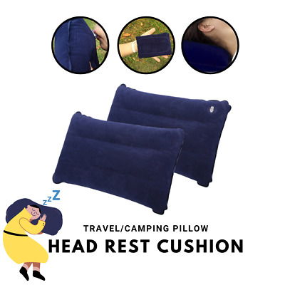 2x Blue Travel Camping Inflatable Soft Pillow Head Neck Rest Cushion Blow Up NEW