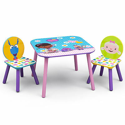 Delta Children Disney Doc Mcstuffins Kids Wooden Table & Chairs Set Playroom