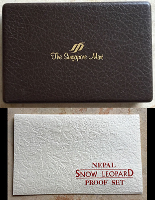 1988 Gold Nepal Snow Leopard 4 Coin Proof Set Singapore Mint Box No Coins w/ COA
