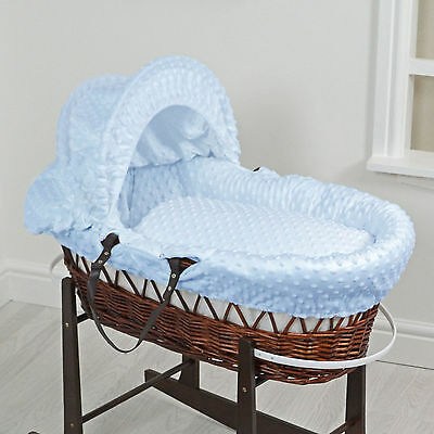New 4Baby Blue Dimple Dark Wicker Deluxe Padded Baby Boys Moses Basket