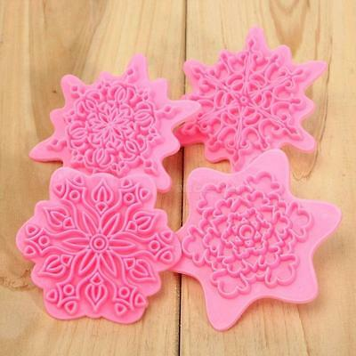 Snowflake Flower Stamp Cake Decorating Cutter Mold Chocolate Cookie Pastry NCYG