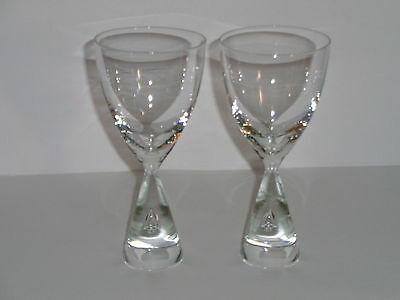 HOLMEGAARD PRINCESS (2)  CRYSTAL CLEAR CORDIALS / WHITE WINE GLASSES Tear Drop