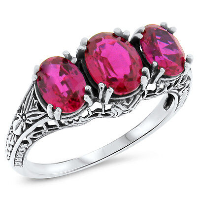 3.5 Ct Lab Ruby 925 Sterling Silver Antique Art Deco Style Ring Size 10,    #417