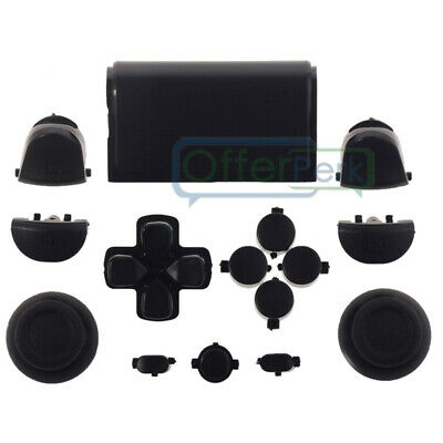 Solid Black Full Set Buttons Kits Dpad Replacement Parts for Sony PS4 Controller