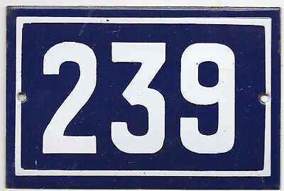 Old French house number 239 door gate plate plaque enamel steel metal sign