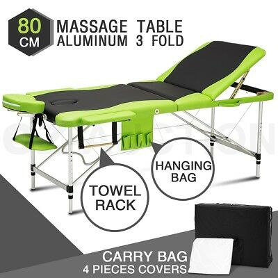 3 Fold Portable Aluminum Massage Table Beauty Therapy Treatment Bed BK & Green