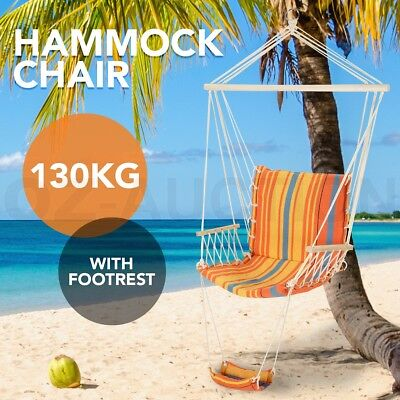 130KG Swing Hanging Hammock Chair w/ Footrest Outdoor Indoor Camping Frame