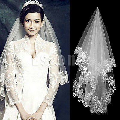 Bridal Long Elbow Veil 1 Layer White/Ivory Elbow Tulle Lace Edge
