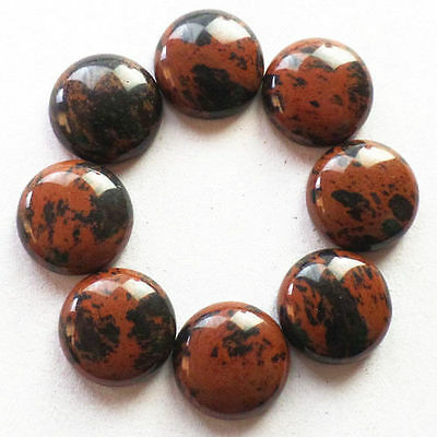 LARGE 15mm ROUND CABOCHON-CUT NATURAL AFRICAN MAHOGANY OBSIDIAN GEMSTONE