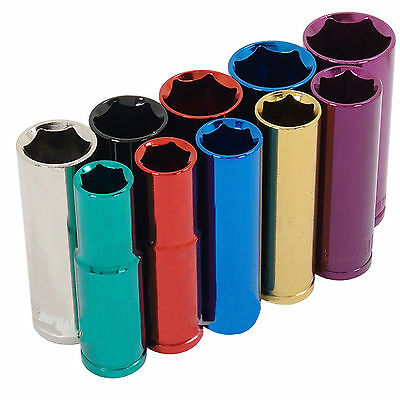 10 Piece 1/2 Inch Drive Multi Coloured Deep Socket Set With Rail Workshop Tools