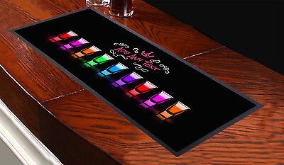 Personalised Shots Glass Bar Towel - ANY NAME TEXT Pub Runner Cocktail Party Mat