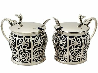 Antique George V Pair of Sterling Silver Preserve Pots