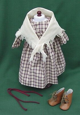 """American Girl 18"""" Retired Kirsten PURPLE PLAID DRESS & SHAWL with BOOTS REPRO"""