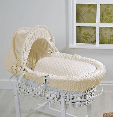 New 4Baby Cream Dimple White Wicker Deluxe Padded Baby Unisex Moses Basket