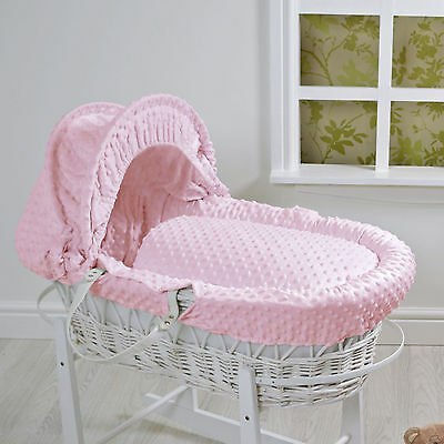 New 4Baby Pink Dimple White Wicker Deluxe Padded Baby Girls Moses Basket
