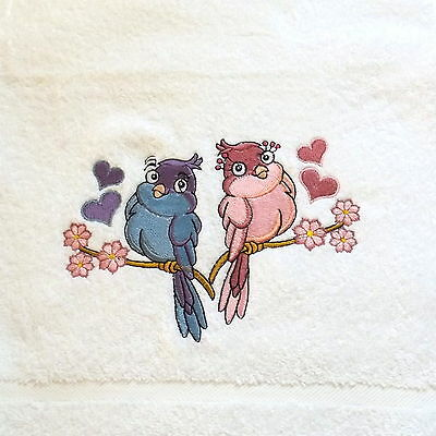 Birds Embroidered Bath Towel, Bird Gift, Wedding Gift, Embroidery