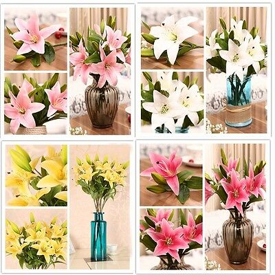 Home Wedding Garden Decor Artificial Fake Mini Lily Silk Flower Bridal Hydrangea
