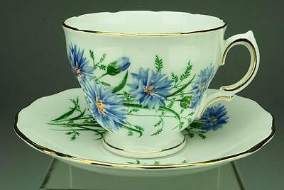 Royal Vale Duo of Cup & Saucer in Blue Flowers, Green Leaves, Scalloped VA94