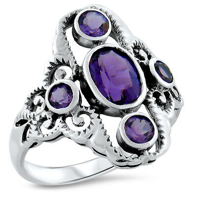 Antique Victorian Design 925 Sterling Silver Lab Amethyst Ring Size 7,      #430