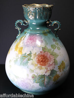 Antique Royal Bonn Floral Porcelain Vase Green and Gold