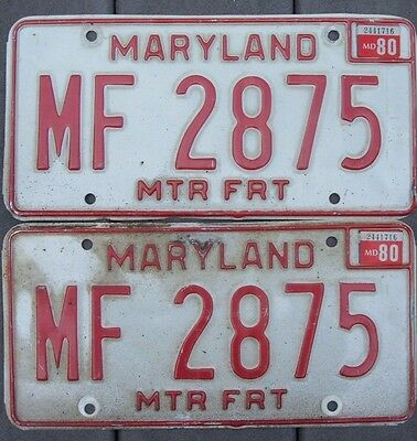 VINTAGE pair 1980 MARYLAND MTR FRT  license plates  MF 2875